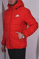 Куртка мужская зимняя с капюшоном красная/синяя/черная Nike Найк