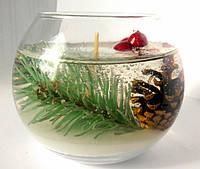 Свеча аквариум новогодний