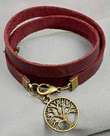 Потрясающий женский браслет из натуральной кожи BlankNote BN-BR-4-vin бордовый