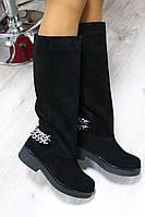 Зимние и демисезонные натуральные замшевые сапоги без замка цвет : черный
