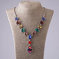 """Колье """"13 камней"""" с разноцветными кристалламив металле под """"серебро"""" оправа зубчик L- 50см"""
