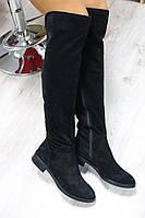 Зимние и демисезонные натуральные замшевые сапоги-ботфорты цвет : черный