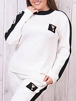 Брендовый батальный гламурный зимний спортивный костюм Турция S M L XL 50 52 54 молочный