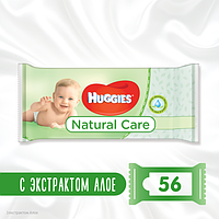 Детские влажные салфетки Huggies Naturale Care 56 шт, фото 1