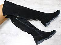 Зимние и демисезонные натуральные замшевые сапоги-ботфорты с цепочкой цвет : черный