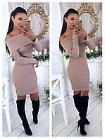 Женское стильное теплое платье с открытыми плечами (расцветки), фото 1