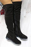 Демисезонные натуральные замшевые сапоги-ботфорты цвет : шоколадный