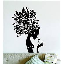 Виниловая наклейка- Девушка-цветы 100х60 см