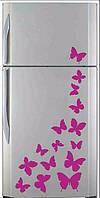 Виниловая наклейка на холодильник ( Бабочки Р.) набор от 30х30 см
