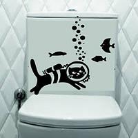 Виниловая наклейка интерьерная- (кот- рыбы )