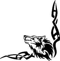 Виниловая наклейка на авто - Волк - узор на угол  размер 25х25 см 2 шт
