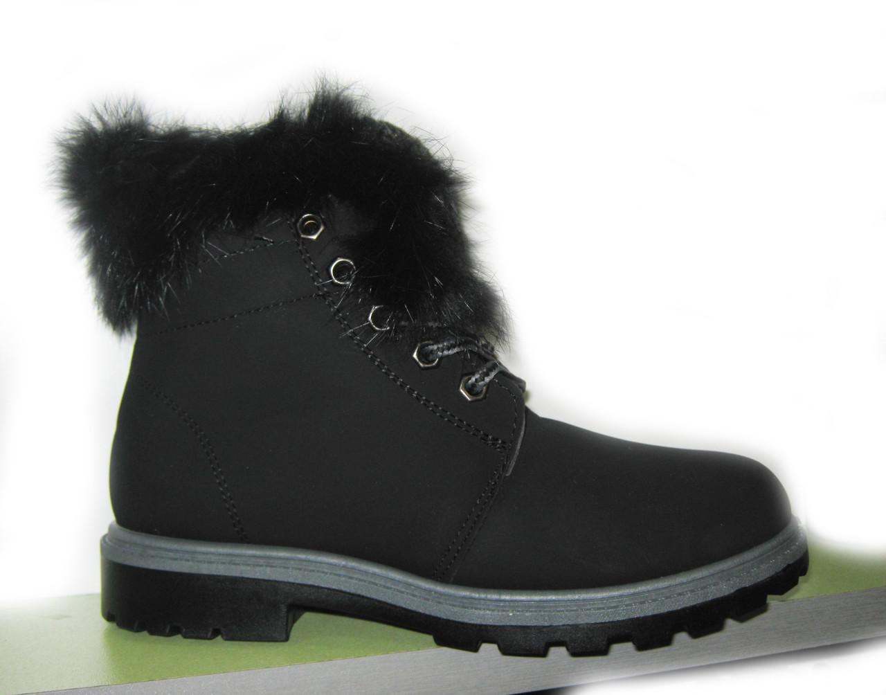 Детские зимние ботинки для девочки с натуральной опушкой, 31-36
