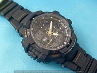 Спортивные часы Q&Q GW86J004Y мужские кварцевые черные для плаванья водонепроницаемые 10Bar с подсветкой
