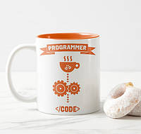 Печать фото на чашках оранжевых внутри и с белой ручкой
