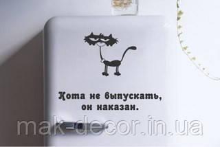 Вінілова наклейка на холодильник - кіт 2 (ціна за розмір 45*45 см)