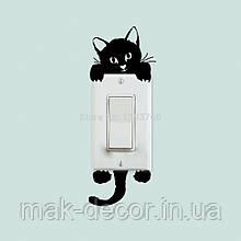 Вінілова інтер'єрна наклейка - Кіт на вимикач ( від 15х10 см)