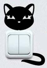 Вінілова інтер'єрна наклейка - Кішка на розетку 5 (від 7х5 см)