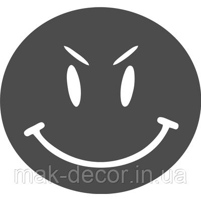 Вінілова наклейка - злий смайл (від 10х10 см)