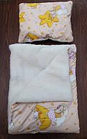 Детское одеяло+подушка «Мишки на тучке», на овчина, фото 1