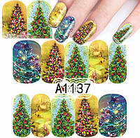 Слайдер  для ногтей BN-1137 Новогодний дизайн
