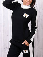 Турецкий стильный тёплый спортивный костюм ангора чёрный, фото 1