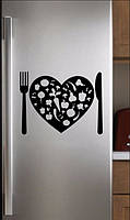 Виниловая наклейка на холодильник (Сердце) от 25х35 см