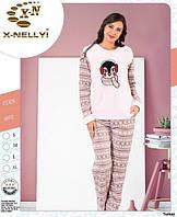 Теплая женская пижама-флис