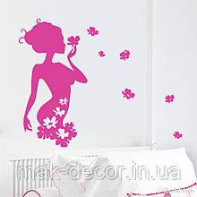 Вінілова наклейка - Дівчина-квіти (ціна за розмір 98х54 см)