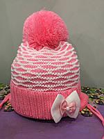 Детская шапка с помпоном для девочки