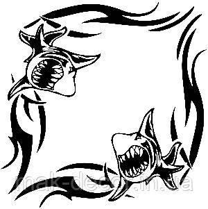 Вінілова наклейка - Візерунок акула (від 15х15 см)