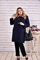 Женское зимнее кашемировое пальто T0647 / размер 42-74 / цвет синий
