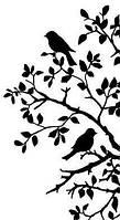 Виниловая интерьерная наклейка - Дерево с птицами  (от25х14 см)