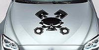 Виниловая наклейка на авто - на капот(череп инструменты)