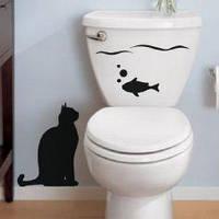 Виниловая интерьерная наклейка - Кот с рыбкой 2 (цена за размер 25х33 см)