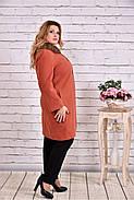 Женское зимнее кашемировое пальто T0647 / размер 42-74 / цвет терракот, фото 2