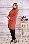 Женское зимнее кашемировое пальто T0647 / размер 42-74 / цвет терракот, фото 3