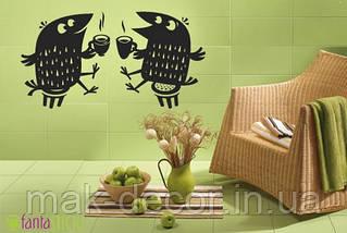 Вінілова інтер'єрна наклейка - Пташки за чаєм(ціна за розмір 50х95 см)