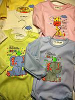 Боди длинный рукав для новорожденных трикотажный интерлок