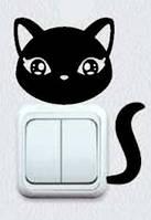 Виниловая интерьерная наклейка - Кошка на розетку 4  (от 7х5 см)