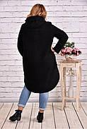Женское теплое шерстяное пальто T0642 / размер 42-74 / цвет черный, фото 4