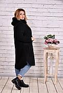Женское теплое шерстяное пальто T0642 / размер 42-74 / цвет черный, фото 2