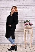 Женское теплое шерстяное пальто T0642 / размер 42-74 / цвет черный, фото 3