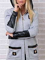 Брендовый гламурный батальный зимний спортивный костюм Турция S M L XL XXL 50 52 54 серый, фото 1