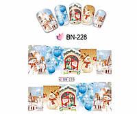 Слайдер  для ногтей BN-228 Новогодний дизайн