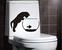 Виниловая наклейка-на унитаз( Кот)