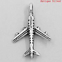 """Подвеска """" Самолет """" Туристический, Античное серебро, 23 мм * 15 мм"""