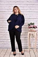 Женское короткое кашемировое пальто большого размера T0640 / размер 42-74 / цвет синий