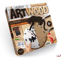 Набор для творчества ARTWOOD Кошка и рыбка-настенные часы выпилинные лобзиком, Danko Toys, LBZ-01-02