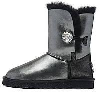 Зимние женские сапоги UGG Bailey Button (короткие угги австралия с кристаллом) черные