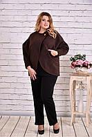 Женское короткое кашемировое пальто большого размера T0640 / размер 42-74 / цвет коричневый